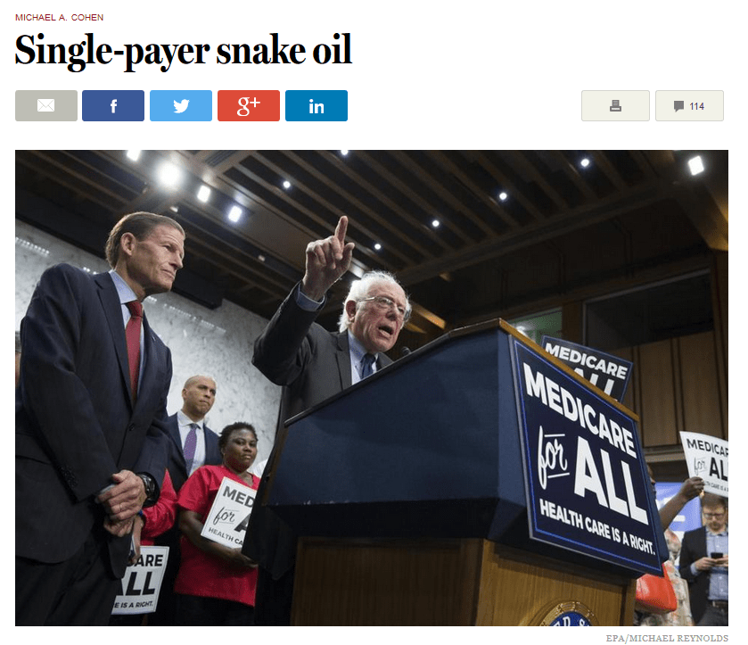 Boston Globe: Single-Payer Snake Oil