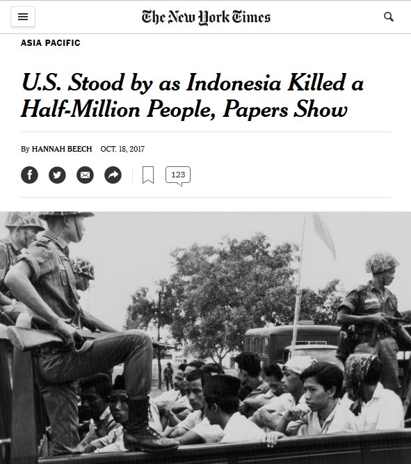 NYT: U.S. Stood by as Indonesia Killed a Half-Million People, Papers Show