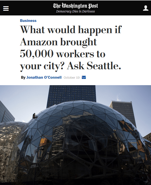 Washington Post: What would happen if Amazon brought 50,000 workers to your city? Ask Seattle.
