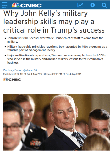 CNBC: Why John Kelly's military leadership skills may play a critical role in Trump's success