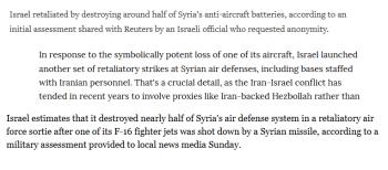 "Examples of Israeli ""retaliation."""