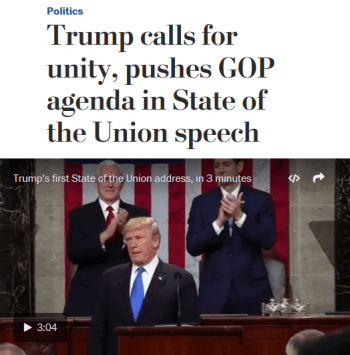 WaPo: Trump calls for unity, pushes GOP agenda in State of the Union speech