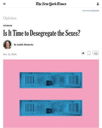 NYT: Is It Time to Desegregate the Sexes?