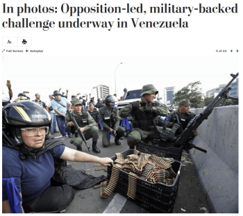 WaPo: In photos: Opposition-led, military-backed challenge underway in Venezuela