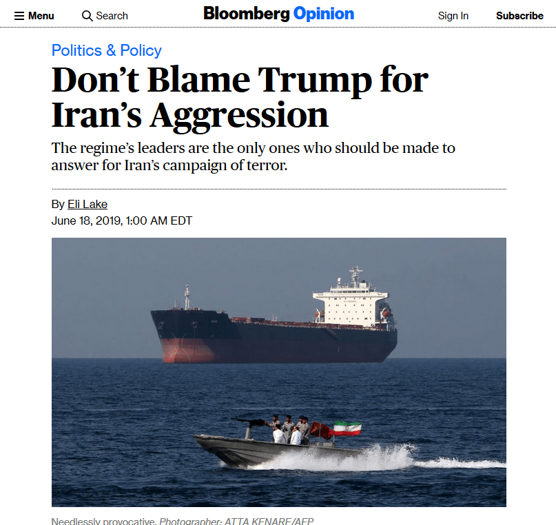 Bloomberg: Don't Blame Trump for Iran's Aggression