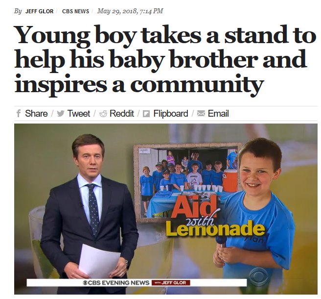 CBS: Young boy takes a stand to help his baby brother and inspires a community
