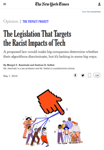 NYT: The Legislation That Targets the Racist Impacts of Tech