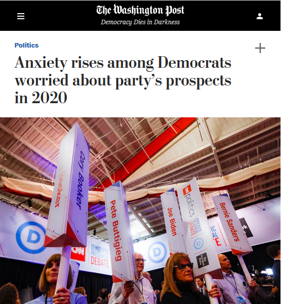 WaPo: Anxiety rises among Democrats worried about party's prospects in 2020