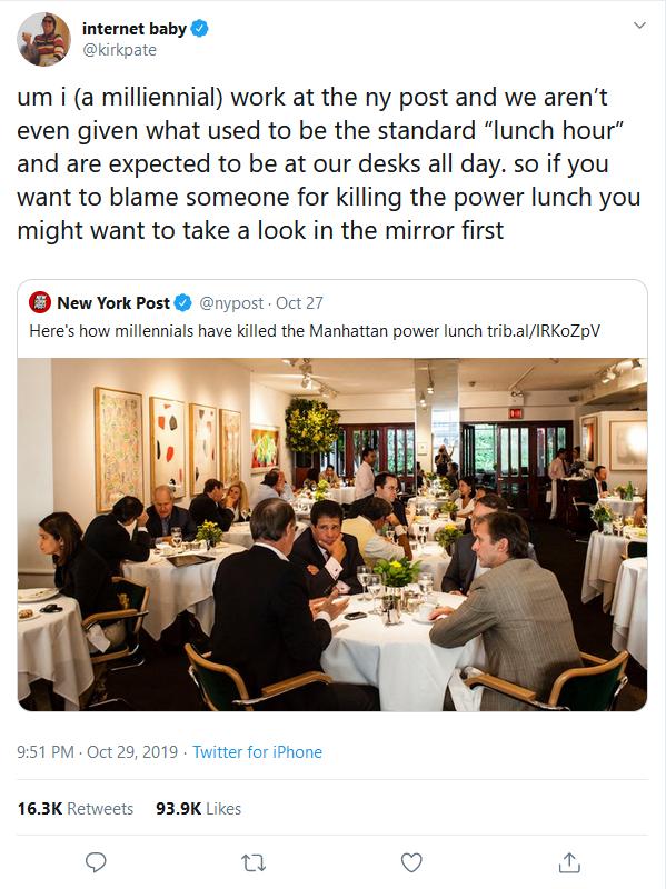 Tweet on Millennials killing power lunch