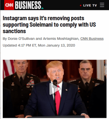 CNN: Instagram says it's removing posts supporting Soleimani to comply with US sanctions