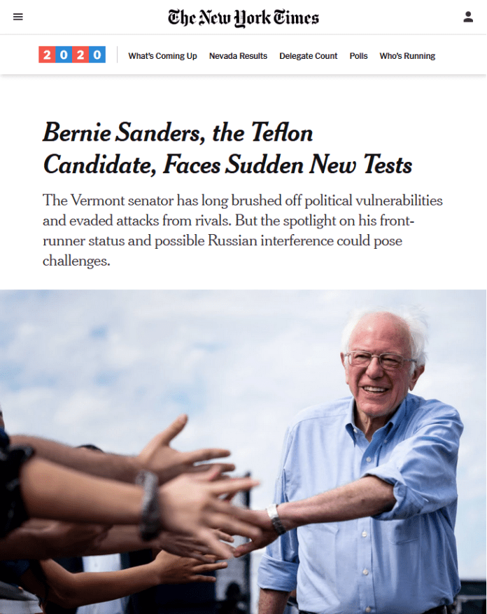 NYT: Bernie Sanders, the Teflon Candidate, Faces Sudden New Tests