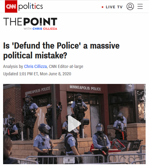 CNN: Is Defund the Police a Massive Poltiical Mistake?