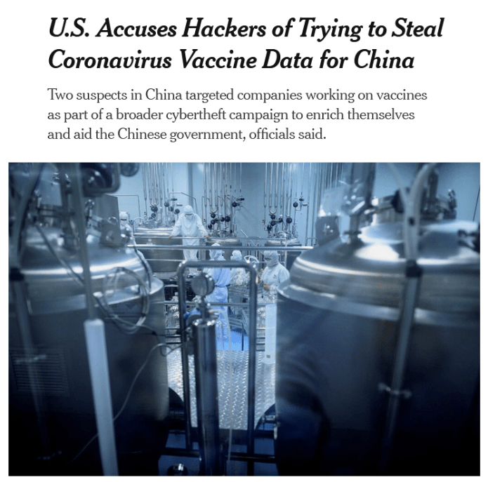 NYT: U.S. Accuses Hackers of Trying to Steal Coronavirus Vaccine Data for China