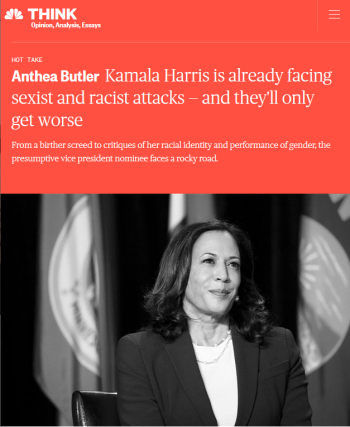 NBC: Kamala Harris is already facing sexist and racist attacks — and they'll only get worse