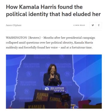 Reuters: How Kamala Harris found the political identity that had eluded her