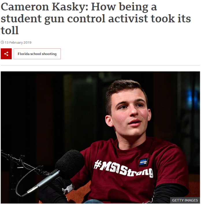 BBC: Cameron Kasky: How being a student gun control activist took its toll