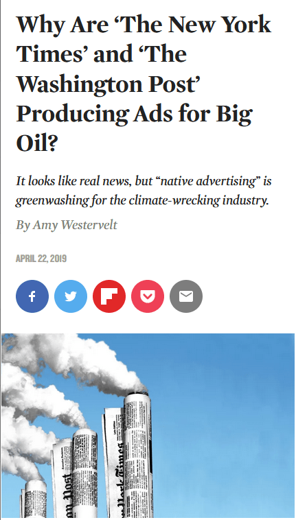 Nation: Why Are 'The New York Times' and 'The Washington Post' Producing Ads for Big Oil?