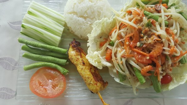 Papaya Salad with a little satay chicken