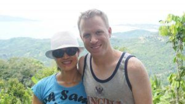 Happy and smiling on top of Koh Samui