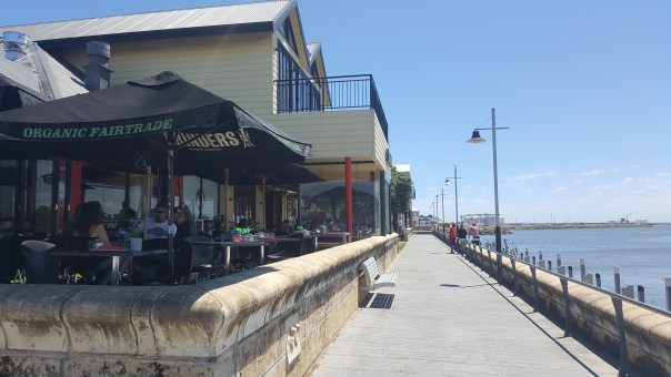 The restaurants line up at the Bunbury Waterfront.