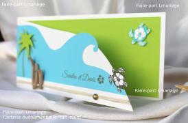 Intérieur du faire-part thème des îles et lagons. Avec ses tortues de mer en ivoire, vert et turquoise