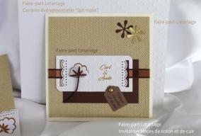 Faire-part Noces coton et cuir