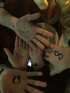 Drawing symbols on ourselves