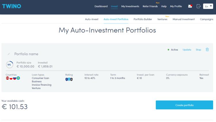 Mon portefeuille Twino - Mon auto-investissement et paramètrage de mon portefeuille Twino.eu