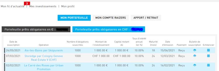 Exemple de mon portefeuille Raizers.com avec le suivi de mes investissements. Sebino