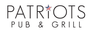 Logo for Patriots Pub & Grill which offers American cuisine in the heart of Fairfax City to business leaders, families and more
