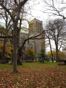 Christ Church Cathedral and park in Victoria British Columbia in autumn