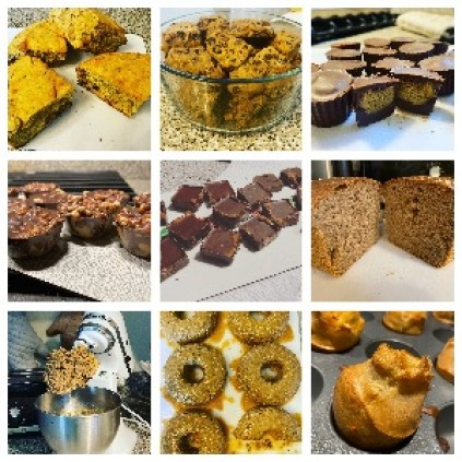 Several baked goods, all baked with 100% healthy ingredients.
