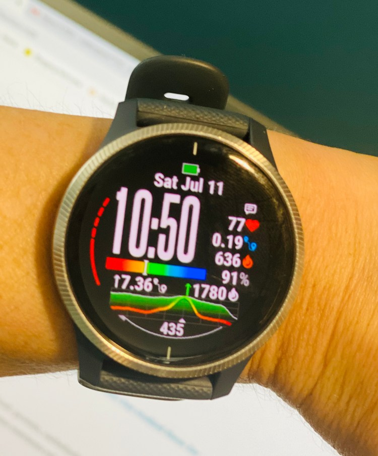 Image of a Garmin Venu.  Used to track activity and calories burned using a wrist heart rate monitor