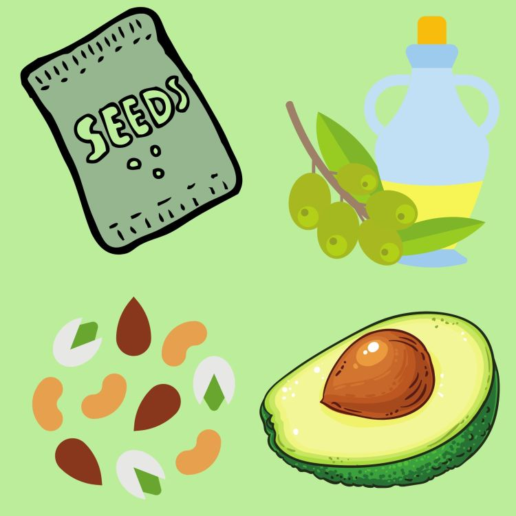 Fats from plants like olives, avocados, nuts, and seeds are healthy fats that provide healthy cholesterol that actually lowers bad cholesterol.