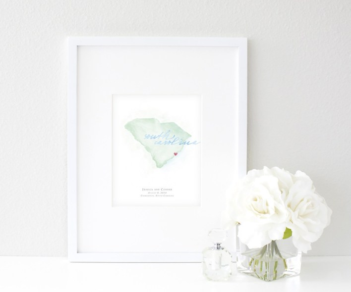 Hand-Painted Personalized Watercolor South Carolina Map by Beloved Paper - Fairly Southern