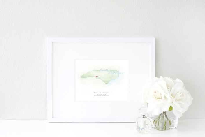 Hand-Painted Personalized Watercolor North Carolina Map by Beloved Paper - Fairly Southern