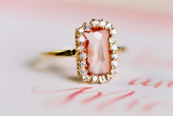 Pink engagement ring with diamond halo and simple gold band - Fairly Southern