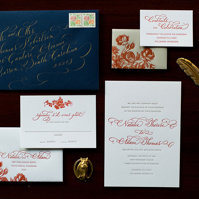 Navy and Burnt Orange Winter Wedding Stationery - Fairly Southern