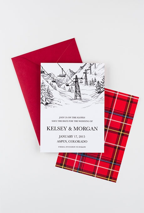 """See You On The Slopes"" Winter Wedding Stationery - Fairly Southern"