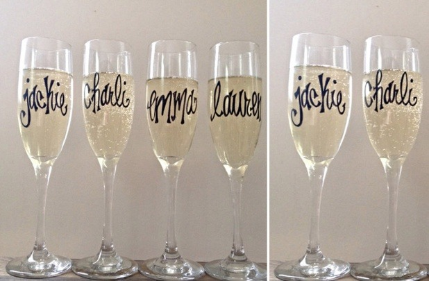 Personalized Champagne Flutes: Perfect Bridesmaid Gift or Bachelorette Party Favor - Fairly Southern