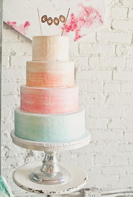 Watercolor Wedding Cake in Sherbert Tones - Fairly Southern