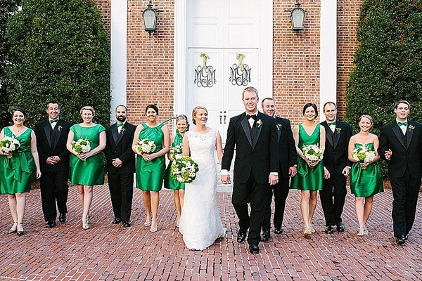 Monogrammed Church Doors - Preppy and Classic Kelly Green Wedding - Fairly Southern