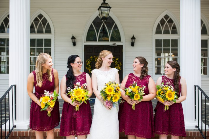 Autumn Wedding with Sunflowers and Burgundy Details | Fairly Southern