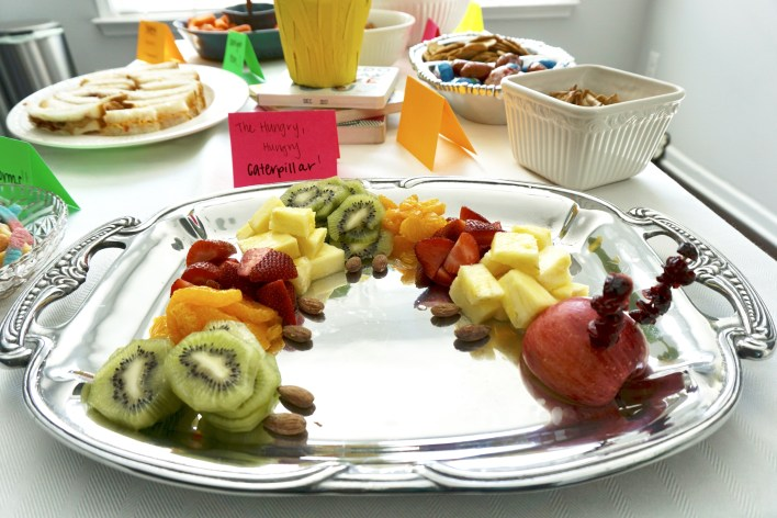Hungry Hungry Caterpillar fruit tray - Book-Themed Baby Shower | Fairly Southern