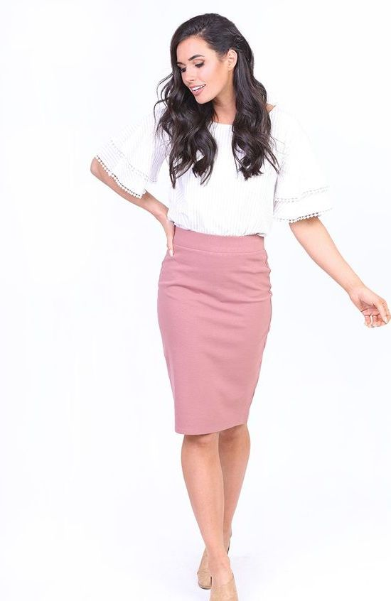 Mikarose blush pencil skirt  |  Ethically Made Women's Workwear Recommendations  |  Fairly Southern