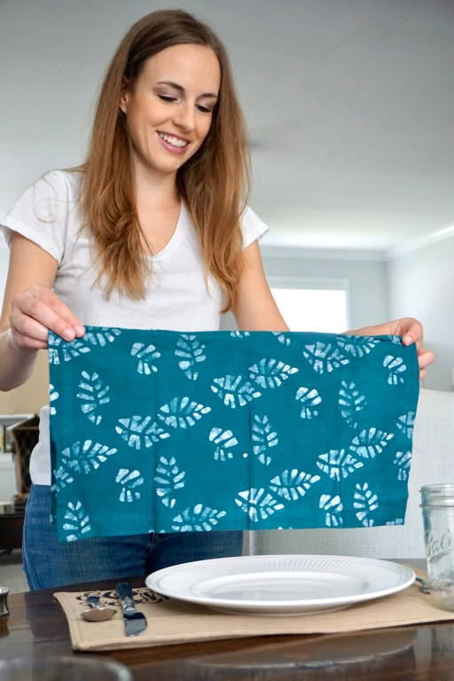 Teal batik napkin by Amani ya Juu - fair trade home goods made by artisans in Africa  |  Fairly Southern