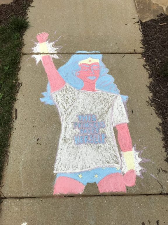 This Princess Saves Herself chalk art  |  Fairly Southern