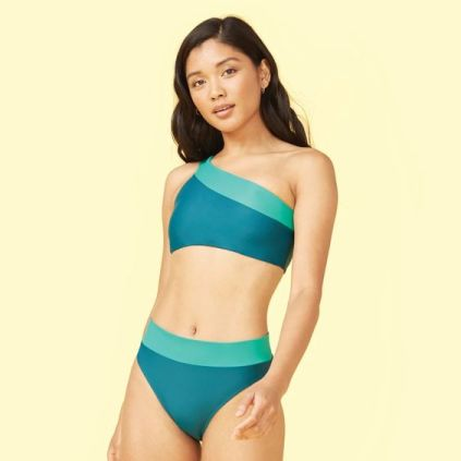 Summersalt teal and green one shoulder bikini  |  Sustainable and Ethically Made Swimwear for Women, Men, and Kids  |  Fairly Southern
