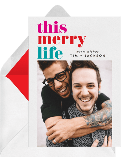 This Merry Life Card by Greenvelope | 10 Gorgeous & Sustainable Holiday Greeting E-Cards | Fairly Southern
