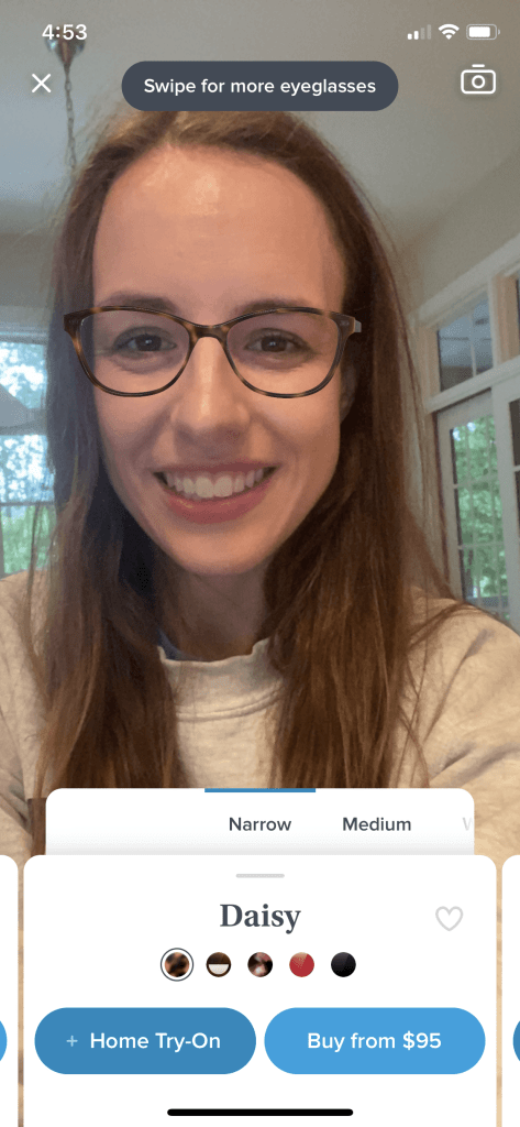 Virtual try on - Daisy blue light glasses in narrow, Oak Barrel - Try on ethically made blue light glasses from Warby Parker at home!  |  Fairly Southern